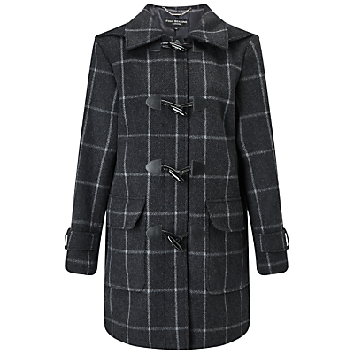Check Duffle Coat, Charcoal/Black - pattern: polka dot; style: duffle coat; length: mid thigh; secondary colour: white; predominant colour: charcoal; occasions: casual, creative work; fit: straight cut (boxy); fibres: wool - mix; collar: shirt collar/peter pan/zip with opening; sleeve length: long sleeve; sleeve style: standard; collar break: high; pattern type: fabric; texture group: woven bulky/heavy; season: a/w 2016; wardrobe: highlight