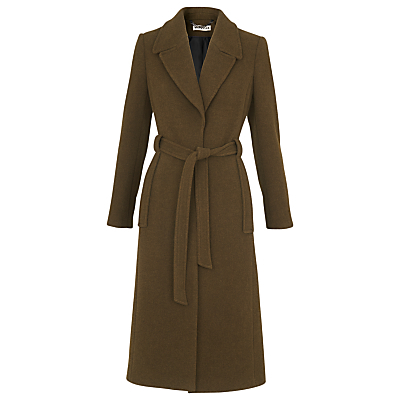 Evangeline Belted Coat - pattern: plain; length: on the knee; style: wrap around; collar: standard lapel/rever collar; predominant colour: khaki; occasions: work, creative work; fit: tailored/fitted; fibres: wool - mix; waist detail: belted waist/tie at waist/drawstring; sleeve length: long sleeve; sleeve style: standard; collar break: medium; pattern type: fabric; texture group: woven bulky/heavy; wardrobe: investment; season: a/w 2016