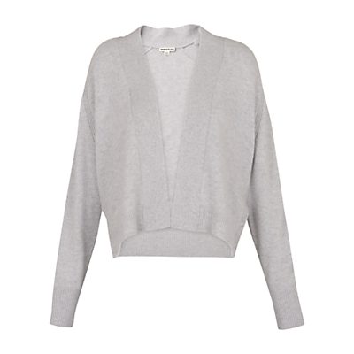 Short Cashmere Cardigan - sleeve style: dolman/batwing; pattern: plain; neckline: collarless open; style: open front; predominant colour: mid grey; occasions: casual, creative work; length: standard; fit: loose; fibres: cashmere - 100%; sleeve length: long sleeve; texture group: knits/crochet; pattern type: knitted - fine stitch; wardrobe: investment; season: a/w 2016