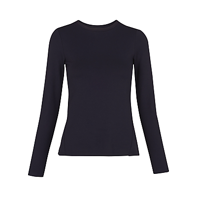 Open Back Ponte Top, Navy - pattern: plain; style: t-shirt; predominant colour: navy; occasions: casual; length: standard; fibres: cotton - stretch; fit: body skimming; neckline: crew; sleeve length: long sleeve; sleeve style: standard; texture group: jersey - clingy; pattern type: fabric; wardrobe: basic; season: a/w 2016