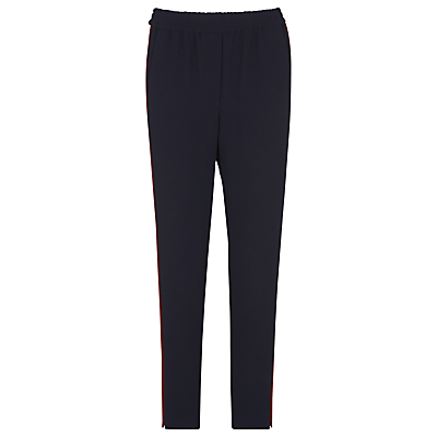 Elyse Side Stripe Trousers, Navy - length: standard; pattern: plain; waist: mid/regular rise; predominant colour: navy; occasions: casual, creative work; fibres: viscose/rayon - stretch; fit: slim leg; pattern type: fabric; texture group: woven light midweight; style: standard; wardrobe: basic; season: a/w 2016