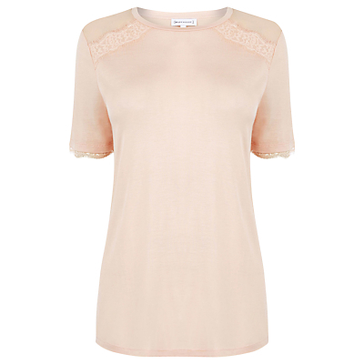 Eyelash Lace Woven Mix T Shirt, Light Pink - pattern: plain; predominant colour: blush; occasions: casual; length: standard; style: top; fibres: polyester/polyamide - 100%; fit: body skimming; neckline: crew; sleeve length: short sleeve; sleeve style: standard; texture group: sheer fabrics/chiffon/organza etc.; pattern type: fabric; embellishment: lace; season: a/w 2016