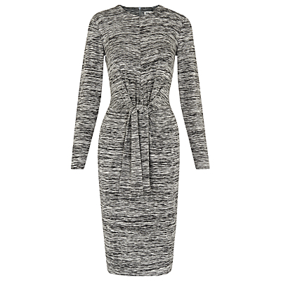 Ira Tie Front Dress, Grey Marl - style: shift; waist detail: belted waist/tie at waist/drawstring; secondary colour: white; predominant colour: charcoal; occasions: casual, creative work; length: on the knee; fit: body skimming; fibres: viscose/rayon - stretch; neckline: crew; sleeve length: long sleeve; sleeve style: standard; pattern type: fabric; pattern: patterned/print; texture group: jersey - stretchy/drapey; season: a/w 2016; wardrobe: highlight