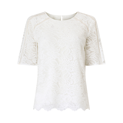 Petite Lace Ladder Blouse, Neutral - predominant colour: ivory/cream; occasions: evening; length: standard; style: top; fibres: polyester/polyamide - 100%; fit: body skimming; neckline: crew; sleeve length: short sleeve; sleeve style: standard; texture group: lace; pattern type: fabric; pattern size: standard; pattern: patterned/print; season: a/w 2016; wardrobe: event