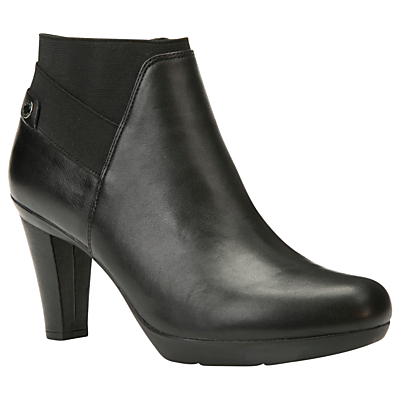 Inspiration High Cone Heel Ankle Boots - predominant colour: black; occasions: casual, creative work; material: leather; heel height: high; heel: cone; toe: round toe; boot length: ankle boot; style: standard; finish: plain; pattern: plain; shoe detail: platform; season: a/w 2016; wardrobe: highlight