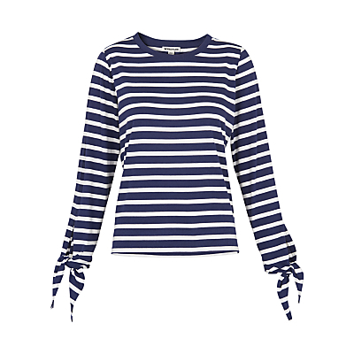 Stripe Tie Cuff T Shirt, Blue/White - pattern: horizontal stripes; style: t-shirt; secondary colour: white; predominant colour: navy; occasions: casual; length: standard; fit: body skimming; neckline: crew; sleeve length: long sleeve; sleeve style: standard; pattern type: fabric; texture group: jersey - stretchy/drapey; fibres: viscose/rayon - mix; multicoloured: multicoloured; season: a/w 2016