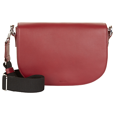 Aster Leather Across Body Bag - predominant colour: burgundy; secondary colour: black; occasions: casual, creative work; type of pattern: standard; style: saddle; length: shoulder (tucks under arm); size: standard; material: leather; finish: plain; pattern: colourblock; season: a/w 2016; wardrobe: highlight