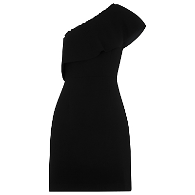Teagan One Shoulder Dress, Black - length: mid thigh; fit: tailored/fitted; pattern: plain; style: asymmetric (top); sleeve style: asymmetric sleeve; neckline: asymmetric; predominant colour: black; occasions: evening, occasion; fibres: polyester/polyamide - 100%; sleeve length: sleeveless; texture group: crepes; pattern type: fabric; season: a/w 2016; wardrobe: event