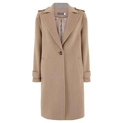 Longline Coat, Camel - pattern: plain; shoulder detail: obvious epaulette; style: single breasted; collar: standard lapel/rever collar; length: mid thigh; predominant colour: camel; occasions: casual, creative work; fit: tailored/fitted; fibres: wool - mix; sleeve length: long sleeve; sleeve style: standard; collar break: medium; pattern type: fabric; texture group: woven bulky/heavy; wardrobe: basic; season: a/w 2016