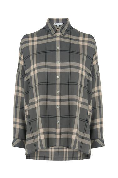 Batwing Check Shirt - neckline: shirt collar/peter pan/zip with opening; sleeve style: dolman/batwing; pattern: checked/gingham; length: below the bottom; style: shirt; secondary colour: ivory/cream; predominant colour: charcoal; occasions: casual; fibres: cotton - 100%; fit: loose; sleeve length: long sleeve; texture group: cotton feel fabrics; pattern type: fabric; pattern size: standard; season: a/w 2016