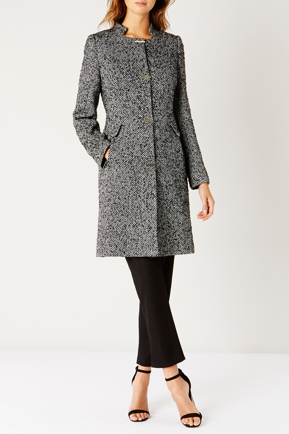 Rhea Mono Coat - collar: round collar/collarless; style: single breasted; pattern: herringbone/tweed; length: mid thigh; predominant colour: mid grey; occasions: work, creative work; fit: tailored/fitted; fibres: wool - mix; sleeve length: long sleeve; sleeve style: standard; collar break: high; pattern type: fabric; pattern size: standard; texture group: woven bulky/heavy; wardrobe: investment; season: a/w 2016