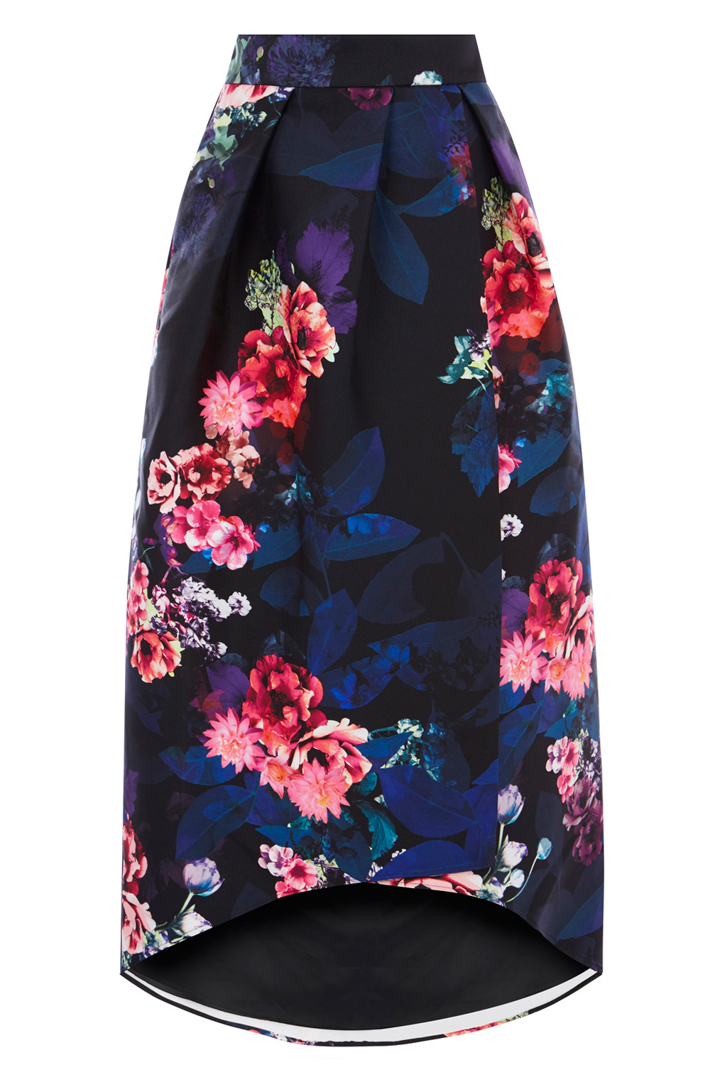 Iridescent Printed Skirt Ltd - style: full/prom skirt; fit: loose/voluminous; waist: high rise; secondary colour: navy; predominant colour: black; length: on the knee; fibres: polyester/polyamide - 100%; occasions: occasion; hip detail: structured pleats at hip; waist detail: narrow waistband; pattern type: fabric; pattern: florals; texture group: woven light midweight; pattern size: big & busy (bottom); multicoloured: multicoloured; season: a/w 2016