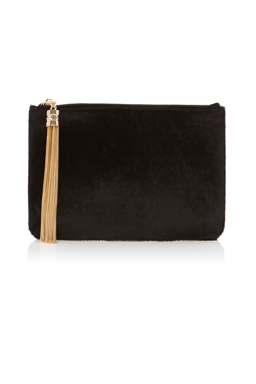 Megan Faux Pony Clutch - secondary colour: gold; predominant colour: black; occasions: evening, occasion; type of pattern: standard; style: clutch; length: hand carry; size: standard; material: animal skin; embellishment: tassels; pattern: plain; finish: plain; season: a/w 2016; wardrobe: event