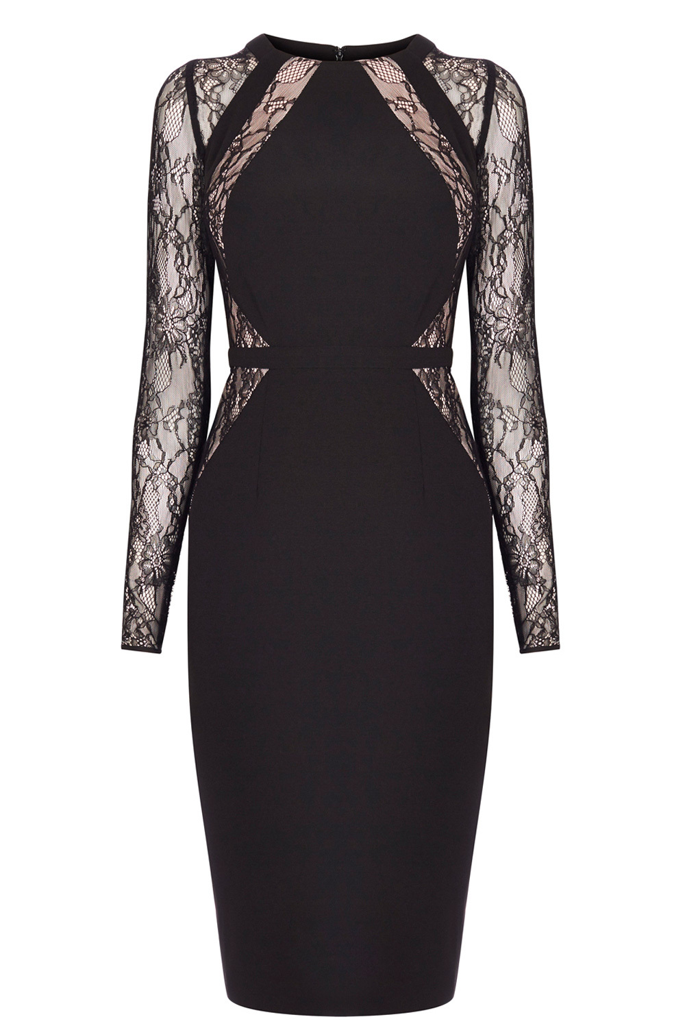 Leonoria Lace Panel Dress Sl - fit: tight; style: bodycon; bust detail: sheer at bust; predominant colour: black; occasions: evening; length: on the knee; fibres: polyester/polyamide - stretch; neckline: crew; waist detail: cut out detail; sleeve length: long sleeve; sleeve style: standard; texture group: jersey - clingy; pattern type: fabric; pattern: patterned/print; embellishment: lace; shoulder detail: sheer at shoulder; season: a/w 2016; wardrobe: event