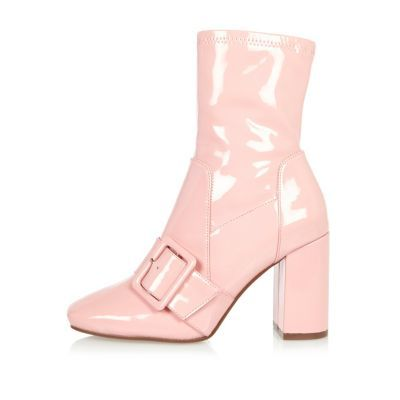 Womens Pink Patent Stretch Ankle Boots - predominant colour: pink; occasions: casual, creative work; material: leather; heel height: high; heel: block; toe: round toe; boot length: ankle boot; style: standard; finish: patent; pattern: plain; season: a/w 2016; wardrobe: highlight