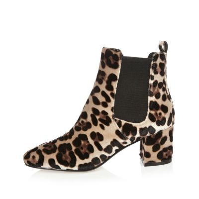 Womens Brown Leopard Print Velvet Chelsea Boots - predominant colour: ivory/cream; secondary colour: black; occasions: casual; heel height: mid; heel: block; toe: round toe; boot length: ankle boot; style: standard; finish: plain; pattern: animal print; material: pony skin; multicoloured: multicoloured; season: a/w 2016; wardrobe: highlight