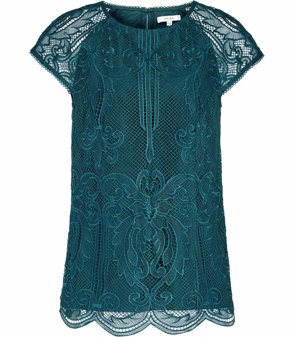 Etia Womens Lace Top In Blue - predominant colour: teal; occasions: evening; length: standard; style: top; fibres: polyester/polyamide - 100%; fit: body skimming; neckline: crew; sleeve length: short sleeve; sleeve style: standard; texture group: lace; pattern type: fabric; pattern size: standard; pattern: patterned/print; embellishment: lace; season: a/w 2016; wardrobe: event