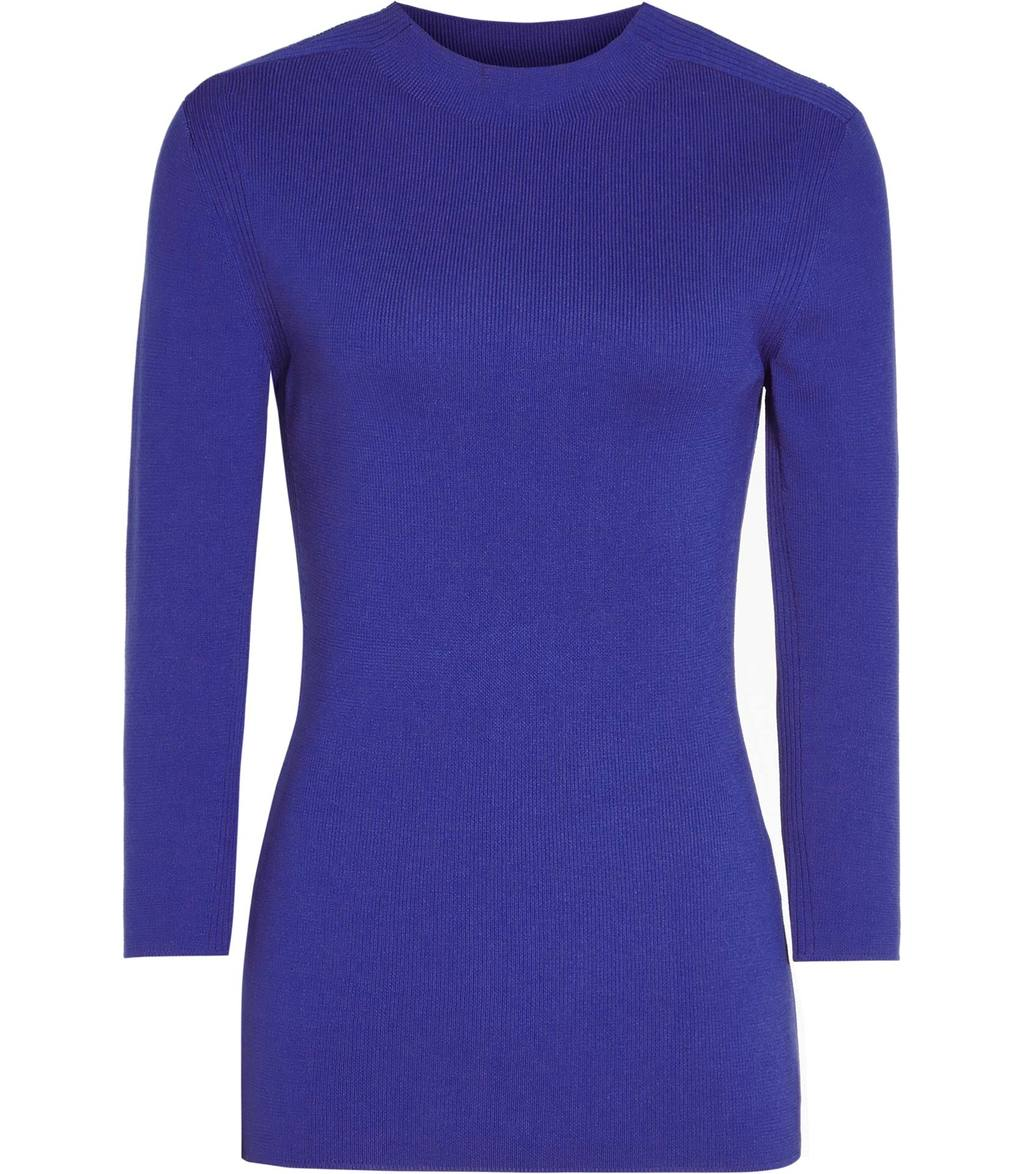 Lulia Womens High Neck Knitted Top In Blue - pattern: plain; predominant colour: royal blue; occasions: casual; length: standard; style: top; fibres: nylon - 100%; fit: body skimming; neckline: crew; sleeve length: 3/4 length; sleeve style: standard; texture group: knits/crochet; pattern type: knitted - fine stitch; season: a/w 2016; wardrobe: highlight