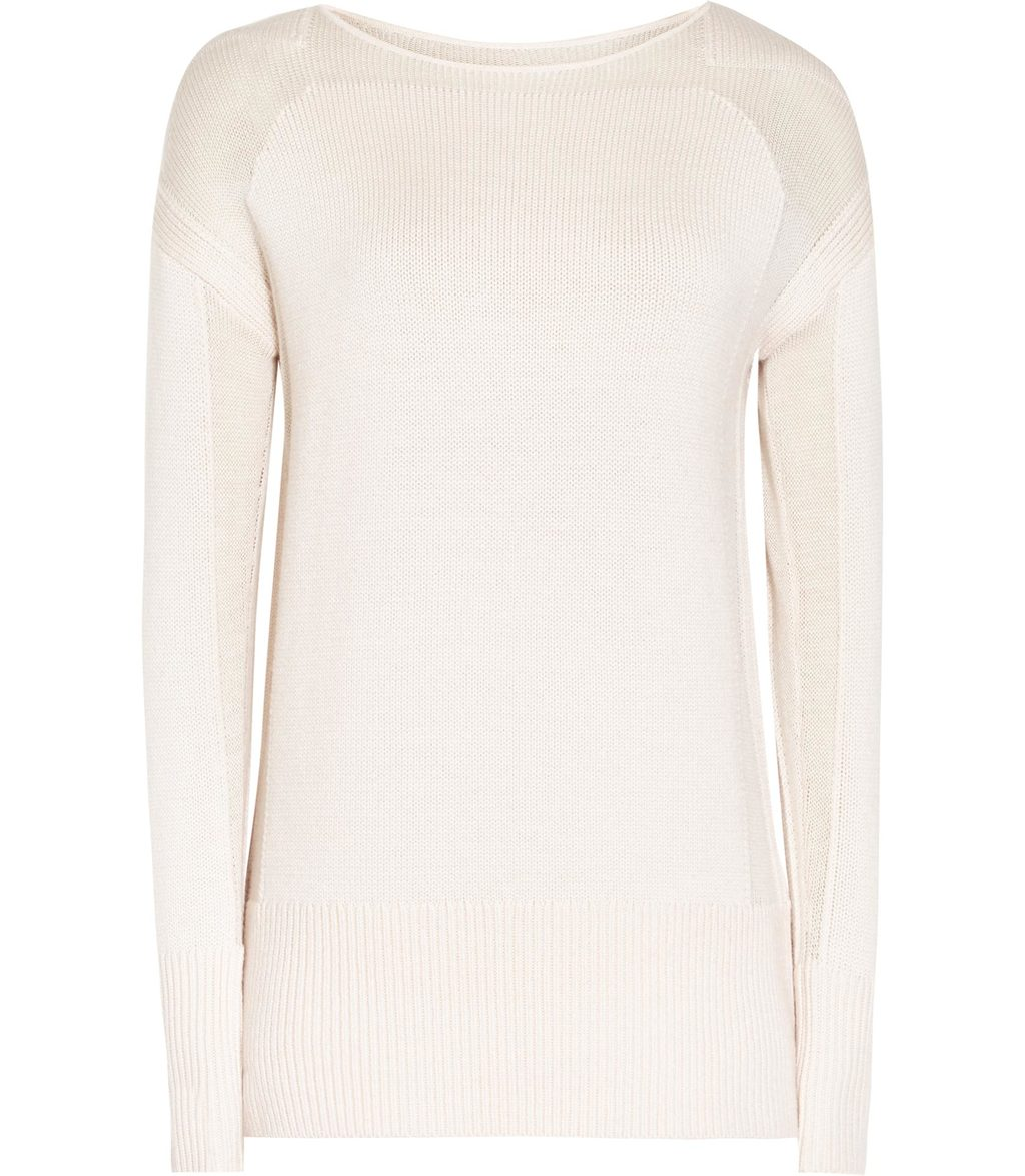 Dene Womens Panelled Jumper In Pink - neckline: round neck; pattern: plain; length: below the bottom; style: standard; predominant colour: blush; occasions: casual, work, creative work; fibres: wool - 100%; fit: standard fit; sleeve length: long sleeve; sleeve style: standard; texture group: knits/crochet; pattern type: knitted - fine stitch; wardrobe: basic; season: a/w 2016