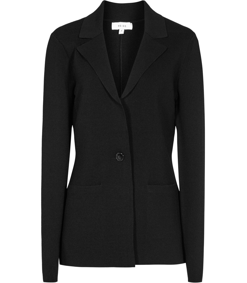 Maya Womens Knitted Blazer In Black - pattern: plain; style: single breasted blazer; length: below the bottom; collar: standard lapel/rever collar; predominant colour: black; occasions: work; fit: tailored/fitted; fibres: viscose/rayon - stretch; sleeve length: long sleeve; sleeve style: standard; collar break: medium; pattern type: fabric; texture group: woven light midweight; wardrobe: investment; season: a/w 2016