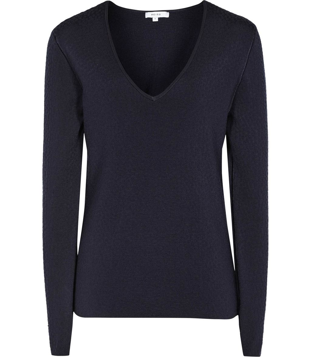Bess Womens Textured Jumper In Blue - neckline: low v-neck; pattern: plain; sleeve style: balloon; style: standard; predominant colour: navy; occasions: casual, work, creative work; length: standard; fibres: wool - mix; fit: slim fit; sleeve length: long sleeve; texture group: knits/crochet; pattern type: knitted - fine stitch; wardrobe: basic; season: a/w 2016