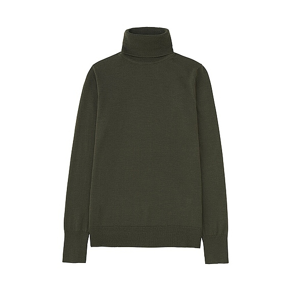 Women Extra Fine Merino Turtle Neck Sweater (10 Colours) Olive - pattern: plain; neckline: roll neck; style: standard; predominant colour: dark green; occasions: casual, work, creative work; length: standard; fibres: wool - 100%; fit: standard fit; sleeve length: long sleeve; sleeve style: standard; texture group: silky - light; pattern type: fabric; season: a/w 2016