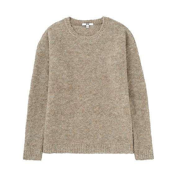 Women Boucle Crew Neck Sweater (Size S) Beige - pattern: plain; style: standard; predominant colour: stone; occasions: casual; length: standard; fibres: acrylic - mix; fit: standard fit; neckline: crew; sleeve length: long sleeve; sleeve style: standard; texture group: knits/crochet; pattern type: knitted - other; wardrobe: basic; season: a/w 2016