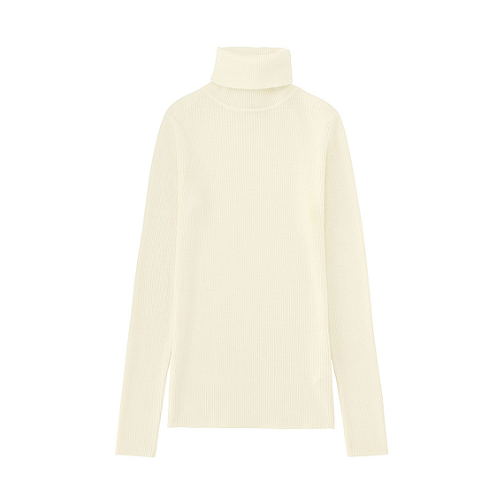 Women Extra Fine Merino Ribbed Turtle Neck Sweater Off White - pattern: plain; neckline: roll neck; style: standard; predominant colour: ivory/cream; occasions: casual; length: standard; fibres: wool - 100%; fit: standard fit; sleeve length: long sleeve; sleeve style: standard; texture group: knits/crochet; pattern type: knitted - other; season: a/w 2016