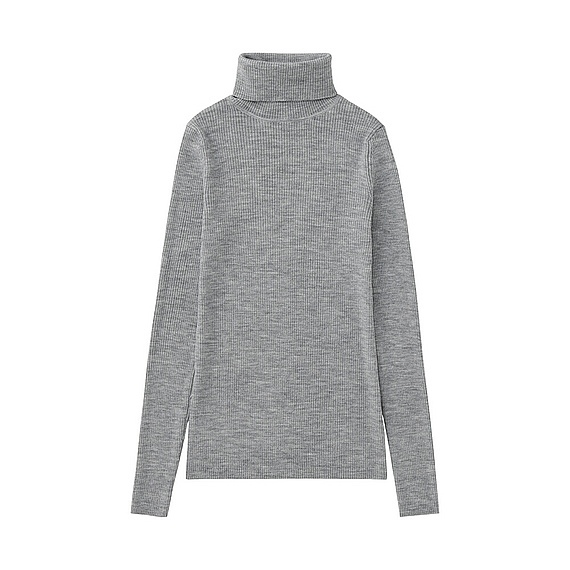 Women Extra Fine Merino Ribbed Turtle Neck (12 Colours) Gray - pattern: plain; neckline: roll neck; style: standard; predominant colour: mid grey; occasions: casual; length: standard; fibres: wool - 100%; fit: standard fit; sleeve length: long sleeve; sleeve style: standard; texture group: knits/crochet; pattern type: knitted - other; wardrobe: basic; season: a/w 2016