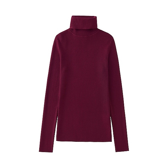 Women Extra Fine Merino Ribbed Turtle Neck (12 Colours) Wine - pattern: plain; neckline: roll neck; style: standard; predominant colour: burgundy; occasions: casual; length: standard; fibres: wool - 100%; fit: loose; sleeve length: long sleeve; sleeve style: standard; texture group: knits/crochet; pattern type: knitted - fine stitch; season: a/w 2016; wardrobe: highlight
