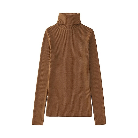 Women Extra Fine Merino Ribbed Turtle Neck (12 Colours) Beige - pattern: plain; neckline: roll neck; style: standard; predominant colour: camel; occasions: casual; length: standard; fibres: wool - 100%; fit: loose; sleeve length: long sleeve; sleeve style: standard; texture group: knits/crochet; pattern type: knitted - fine stitch; wardrobe: basic; season: a/w 2016
