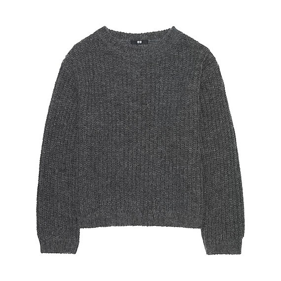 Women Mohair Blend Oversized Sweater Gray - pattern: plain; style: standard; predominant colour: charcoal; occasions: casual; length: standard; fibres: wool - mix; fit: standard fit; neckline: crew; sleeve length: long sleeve; sleeve style: standard; texture group: knits/crochet; pattern type: knitted - other; wardrobe: basic; season: a/w 2016