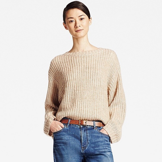Women Mohair Blend Oversized Sweater (Size S) Beige - pattern: plain; style: standard; predominant colour: nude; occasions: casual; length: standard; fibres: wool - mix; fit: loose; neckline: crew; sleeve length: long sleeve; sleeve style: standard; texture group: knits/crochet; pattern type: knitted - fine stitch; wardrobe: basic; season: a/w 2016