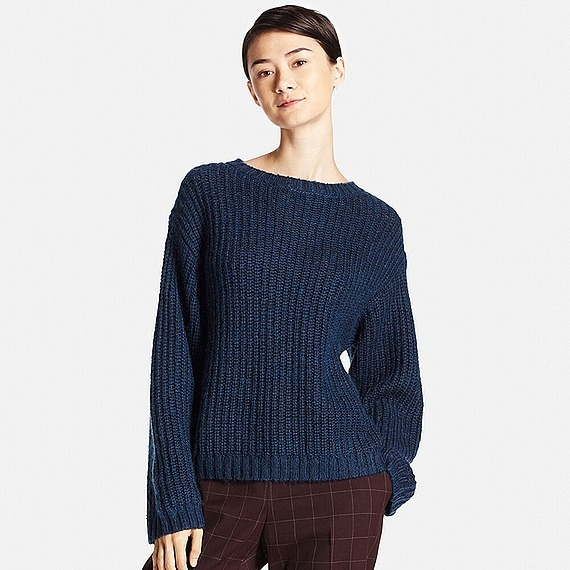 Women Mohair Blend Oversized Sweater Blue - pattern: plain; style: standard; predominant colour: navy; occasions: casual; length: standard; fibres: wool - mix; fit: loose; neckline: crew; sleeve length: long sleeve; sleeve style: standard; texture group: knits/crochet; pattern type: knitted - fine stitch; season: a/w 2016