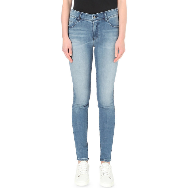 Skinny High Rise Jeans, Women's, Denim Indaco - style: skinny leg; length: standard; pattern: plain; pocket detail: traditional 5 pocket; waist: mid/regular rise; predominant colour: denim; occasions: casual; fibres: cotton - stretch; jeans detail: whiskering, washed/faded; texture group: denim; pattern type: fabric; wardrobe: basic; season: a/w 2016