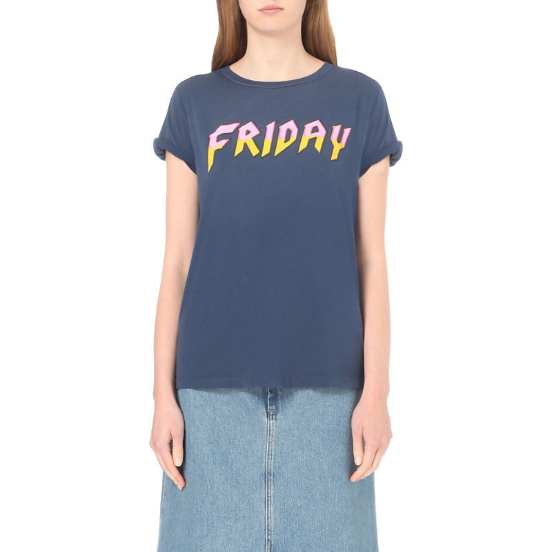 Heavy Metal Friday Cotton Jersey T Shirt, Women's, Size: Small, After Midnight Blue - neckline: round neck; style: t-shirt; predominant colour: denim; occasions: casual; length: standard; fibres: cotton - 100%; fit: body skimming; sleeve length: short sleeve; sleeve style: standard; pattern type: fabric; pattern size: standard; texture group: jersey - stretchy/drapey; pattern: graphic/slogan; season: a/w 2016; wardrobe: highlight
