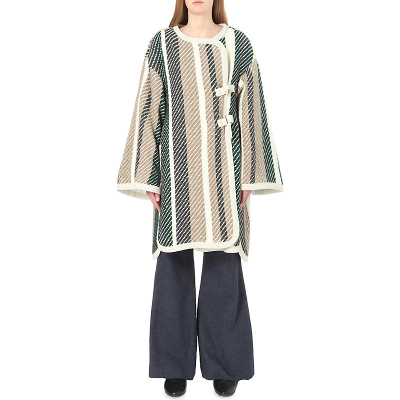 Oversized Striped Knit Coat, Women's, Green - pattern: striped; collar: round collar/collarless; fit: loose; style: wrap around; secondary colour: white; predominant colour: stone; occasions: casual; fibres: acrylic - mix; length: below the knee; sleeve length: long sleeve; sleeve style: standard; texture group: knits/crochet; collar break: high; pattern type: fabric; multicoloured: multicoloured; season: a/w 2016