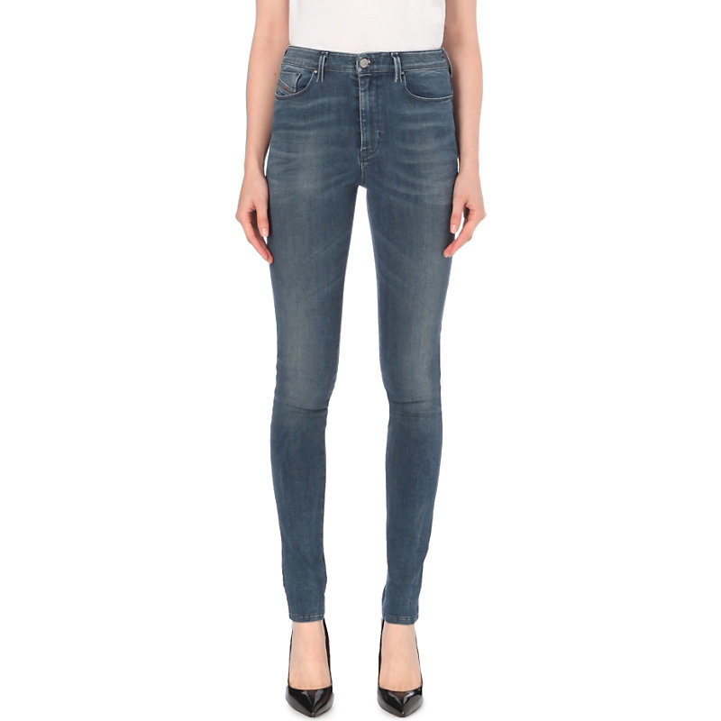 Skinzee Super Skinny High Rise Jeans, Women's, Mid Indigo Destruction - style: skinny leg; length: standard; pattern: plain; waist: high rise; pocket detail: traditional 5 pocket; predominant colour: denim; occasions: casual; fibres: cotton - stretch; texture group: denim; pattern type: fabric; wardrobe: basic; season: a/w 2016