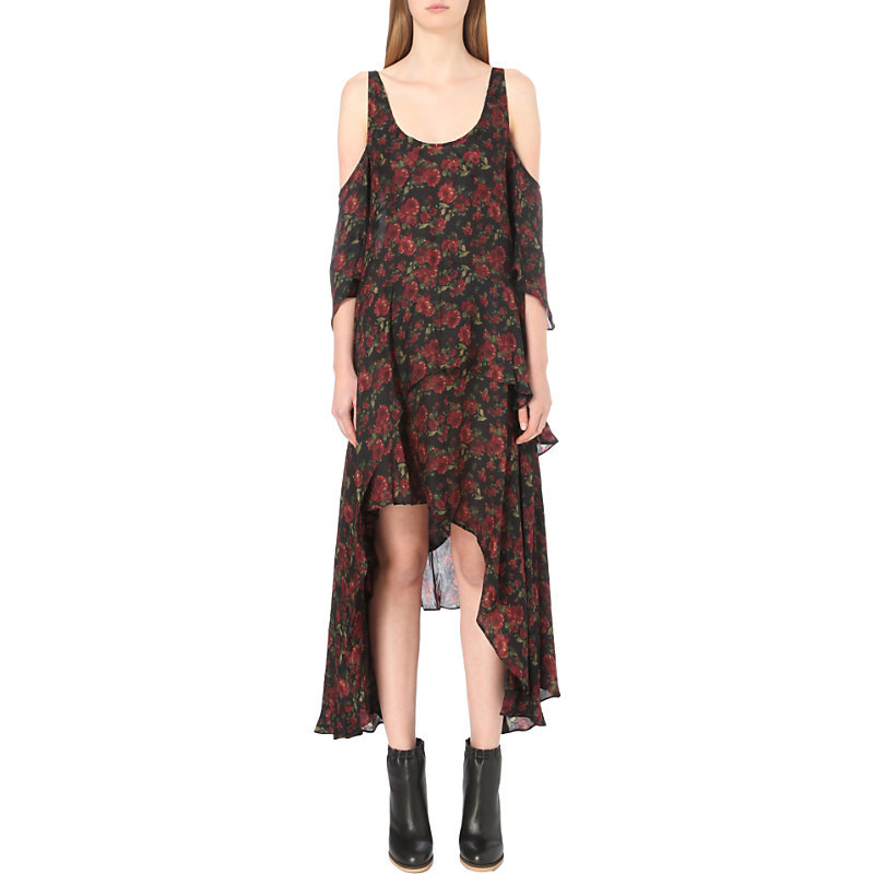 Yvana Rose Print Silk Dress, Women's, Multico Khaki - secondary colour: true red; predominant colour: khaki; occasions: casual; length: just above the knee; fit: body skimming; style: asymmetric (hem); neckline: scoop; fibres: silk - 100%; shoulder detail: cut out shoulder; sleeve length: 3/4 length; sleeve style: standard; texture group: sheer fabrics/chiffon/organza etc.; pattern type: fabric; pattern: florals; multicoloured: multicoloured; season: a/w 2016; wardrobe: highlight