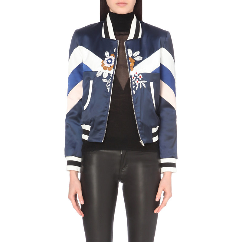 Brava Satin Bomber Jacket, Women's, Blue - pattern: striped; collar: round collar/collarless; fit: slim fit; style: bomber; secondary colour: white; predominant colour: navy; occasions: casual; length: standard; fibres: cotton - mix; sleeve length: long sleeve; sleeve style: standard; texture group: structured shiny - satin/tafetta/silk etc.; collar break: high; pattern type: fabric; pattern size: standard; embellishment: embroidered; multicoloured: multicoloured; season: a/w 2016; wardrobe: highlight