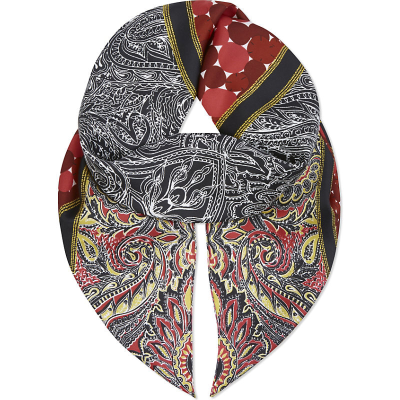 Paisley Silk Scarf, Women's, Cabriole Black - predominant colour: black; occasions: casual; type of pattern: heavy; style: regular; size: standard; material: fabric; pattern: paisley; multicoloured: multicoloured; season: a/w 2016