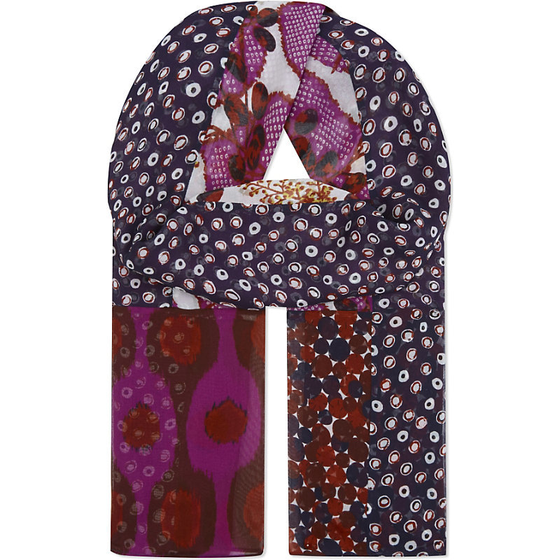 Boomerang Silk Scarf, Women's, Impromptu Amethyst - predominant colour: purple; secondary colour: navy; occasions: casual, creative work; type of pattern: light; style: regular; size: standard; material: fabric; pattern: patterned/print; season: a/w 2016; wardrobe: highlight