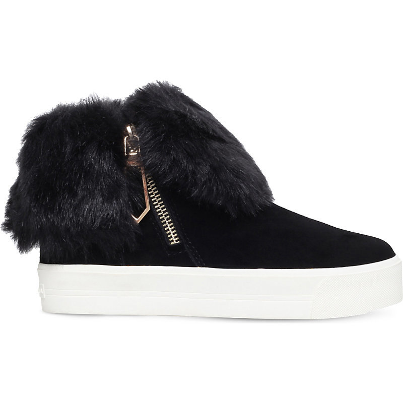 Lille Foldover Cuff Suede Trainers, Women's, Eur 37 / 4 Uk Women, Black - predominant colour: black; occasions: casual; material: suede; heel height: flat; toe: round toe; style: trainers; finish: plain; pattern: plain; embellishment: fur; shoe detail: platform; season: a/w 2016; wardrobe: highlight