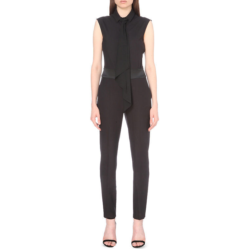 Ruffled Stretch Crepe Jumpsuit, Women's, Black - length: standard; fit: tailored/fitted; pattern: plain; sleeve style: sleeveless; neckline: pussy bow; predominant colour: black; occasions: evening; fibres: polyester/polyamide - stretch; sleeve length: sleeveless; texture group: crepes; style: jumpsuit; pattern type: fabric; pattern size: standard; season: a/w 2016; wardrobe: event