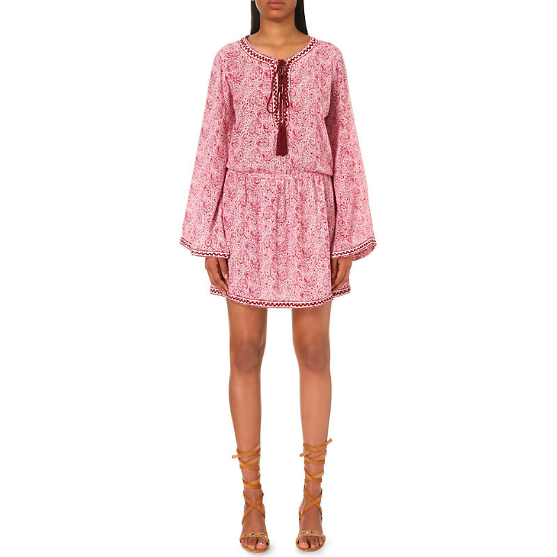 Printed Crepe Dress, Women's, Size: Small, Red - length: mid thigh; fit: loose; style: blouson; neckline: pussy bow; predominant colour: pink; occasions: casual; fibres: polyester/polyamide - 100%; sleeve length: long sleeve; sleeve style: standard; texture group: crepes; pattern type: fabric; pattern: patterned/print; season: a/w 2016; wardrobe: highlight