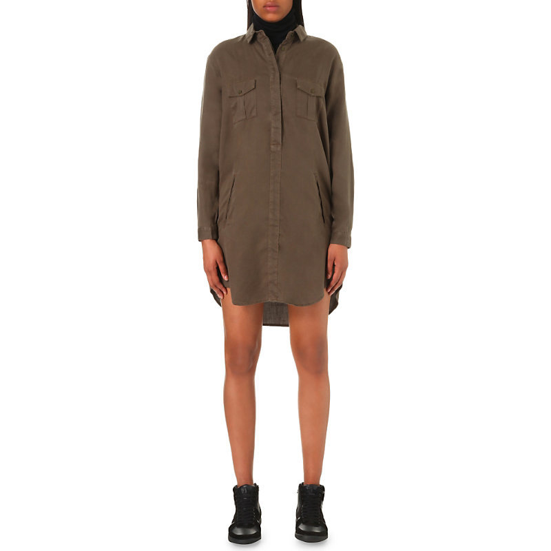 Slouchy Twill Shirt Dress, Women's, Size: L, Khaki - style: shirt; length: mid thigh; neckline: shirt collar/peter pan/zip with opening; pattern: plain; predominant colour: khaki; occasions: casual; fit: body skimming; fibres: viscose/rayon - 100%; sleeve length: long sleeve; sleeve style: standard; texture group: crepes; pattern type: fabric; wardrobe: basic; season: a/w 2016