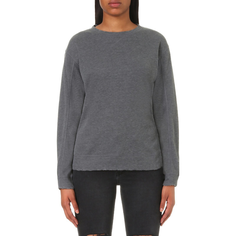 Destroyed Knitted Sweatshirt, Women's, Size: Medium, Melange Grey - pattern: plain; style: sweat top; predominant colour: charcoal; occasions: casual; length: standard; fibres: polyester/polyamide - 100%; fit: body skimming; neckline: crew; sleeve length: long sleeve; sleeve style: standard; texture group: knits/crochet; pattern type: knitted - other; wardrobe: basic; season: a/w 2016