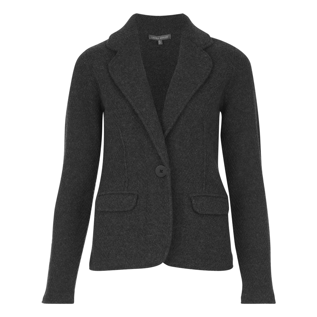 Boiled Wool Herringbone Blazer - pattern: plain; style: single breasted blazer; collar: wide lapels; predominant colour: black; occasions: work; length: standard; fit: tailored/fitted; fibres: wool - 100%; sleeve length: long sleeve; sleeve style: standard; collar break: medium; pattern type: fabric; pattern size: standard; texture group: woven light midweight; wardrobe: investment; season: a/w 2016
