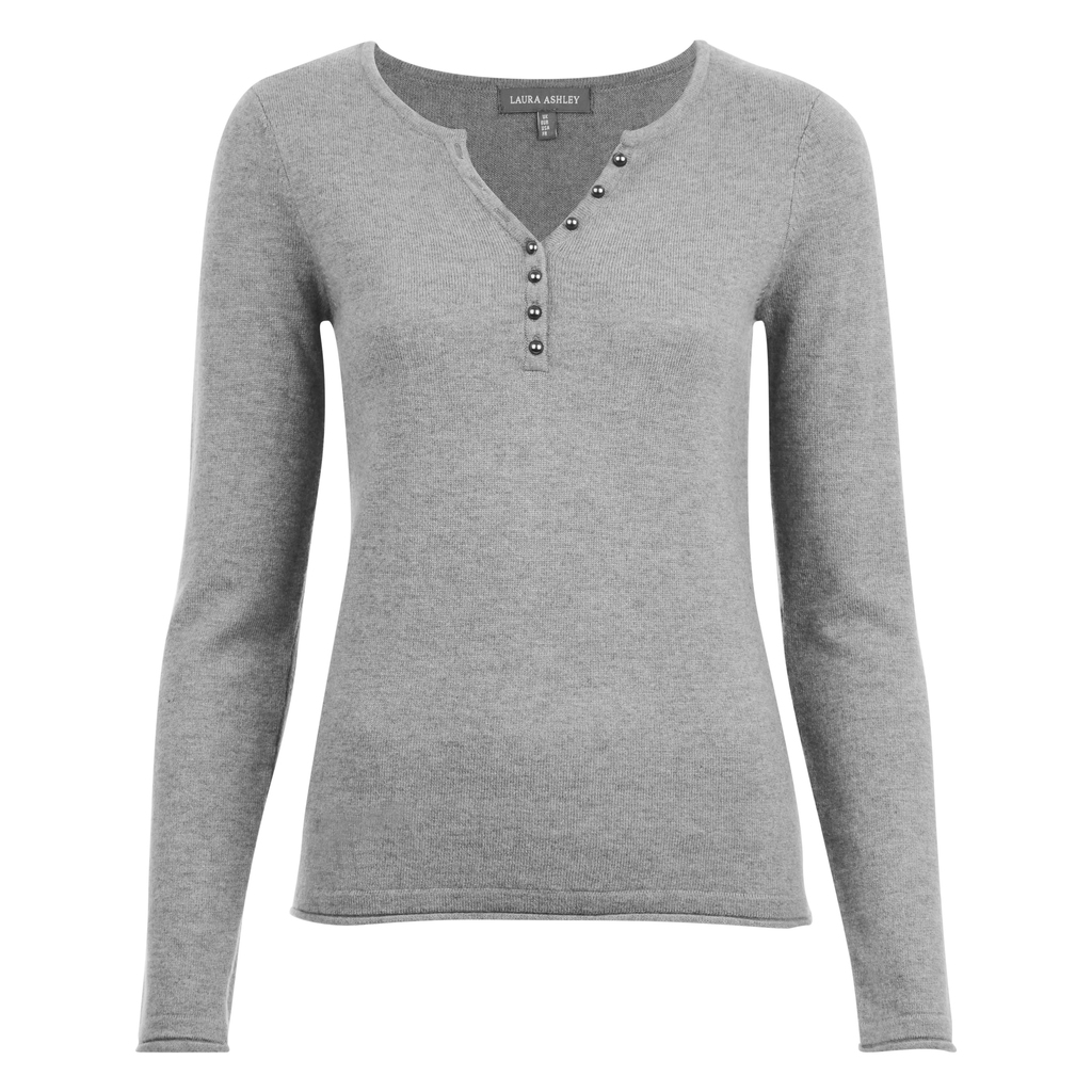 Henley Button Neck Jumper - neckline: v-neck; pattern: plain; style: standard; predominant colour: light grey; occasions: casual, work, creative work; length: standard; fit: slim fit; sleeve length: long sleeve; sleeve style: standard; texture group: knits/crochet; pattern type: knitted - fine stitch; fibres: cashmere - mix; wardrobe: investment; season: a/w 2016; embellishment location: bust