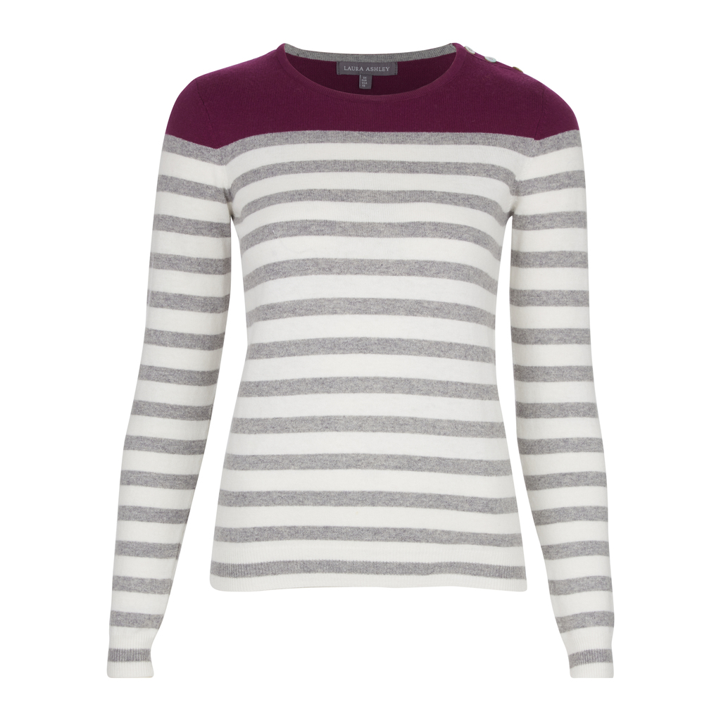 Colourblock Stripe Jumper - neckline: round neck; pattern: horizontal stripes; style: standard; secondary colour: mid grey; predominant colour: light grey; occasions: casual, work, creative work; length: standard; fibres: cotton - mix; fit: slim fit; sleeve length: long sleeve; sleeve style: standard; texture group: knits/crochet; pattern type: knitted - fine stitch; pattern size: big & busy (top); multicoloured: multicoloured; season: a/w 2016; wardrobe: highlight